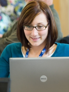 Picture of a student on a computer