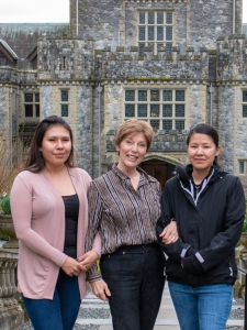 Indigenous visitors from the Sahtu, NWT, in front of Hatley Castle