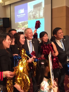 President Allan Cahoon with Royal Roads alumni in Taiwan