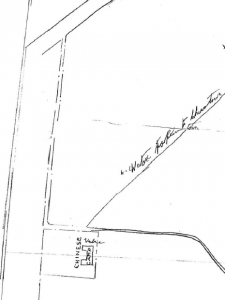 Map of Chinese Camp: A square structure with a water pipe leading away from it