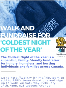 Join the RRU team for the Coldest Night of the Year