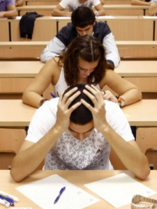 Student looking overwhelmed in class