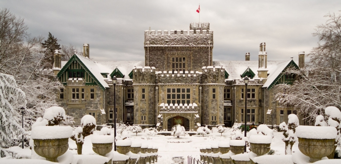 Hatley Castle covered in snow