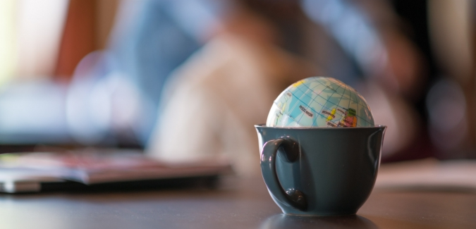 Picture of a tiny globe in a teacup