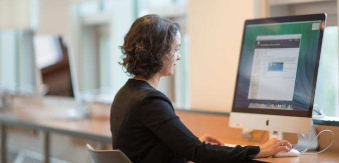 Picture of an instructor on a computer