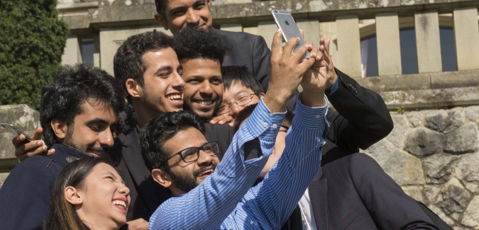 Picture of students taking a selfie