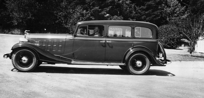 Chauffeur Charles Sherwin in Packard Sedan