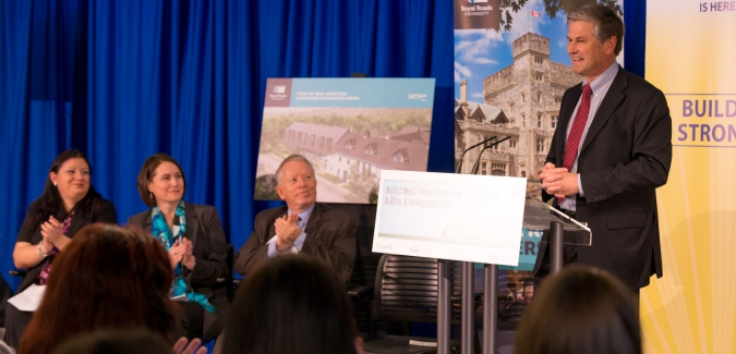 The funding announcement for the university's new Centre for Environmental Science and International Partnership was made on behalf of the federal Minister of Innovation, Science and Economic Development Navdeep Bains and by provincial Minister of Advanced Education Andrew Wilkinson and Royal Roads University President and Vice-Chancellor Allan Cahoon.