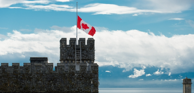 Hatley Castle flag at half-mast