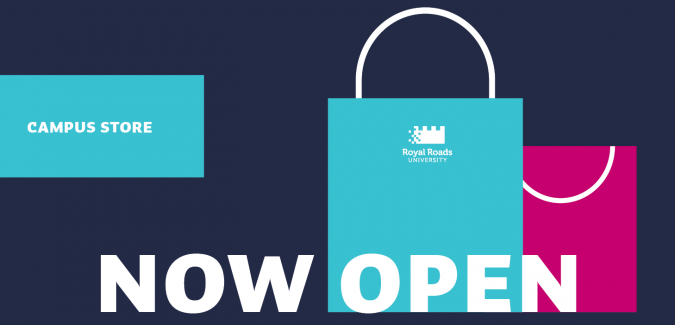 graphic text: campus store now open