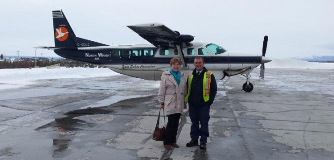 Colville Lake is connected to Fort Good Hope by an ice road for a few months; most of the year, the community can be accessed by air only.  This picture was taken shortly after landing in Norman Wells from Colville Lake.  Mary-Anne was the sole passenger on the flight.