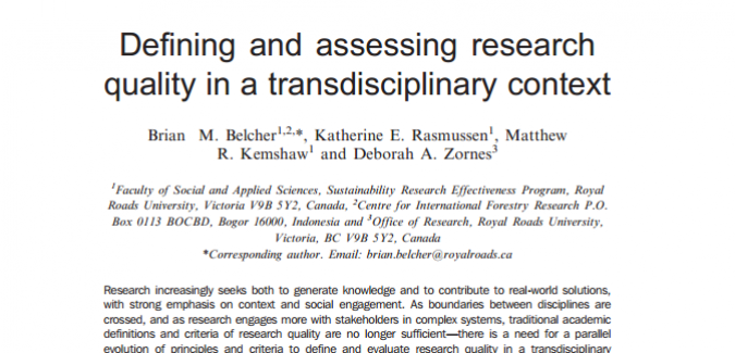 Transdisciplinary research assessment tool