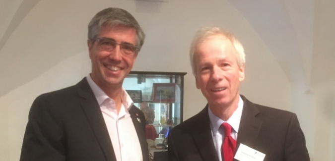 RRU Faculty member Charles Krusekopf celebrated 20 years of Canadian Studies at the University of Innsbruck, Austria with Stephane Dion, Canada's Ambassador to Germany and Special Envoy to the EU.