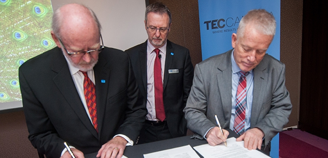 TEC Canada's Dr. W. Lynn Tanner and Ken MacLeod and Royal Roads' President Allan Cahoon