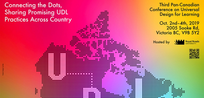 Poster showing the letters UDL across a pixelated map of Canada