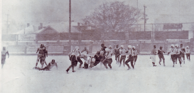1955 snowy Hibbard Cup football game Charles coll RRMC RRU Archives