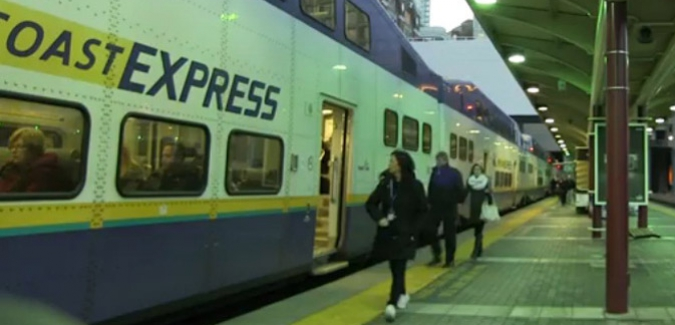 Screenshot of the West Coast Express from Sarah Nelson's video.