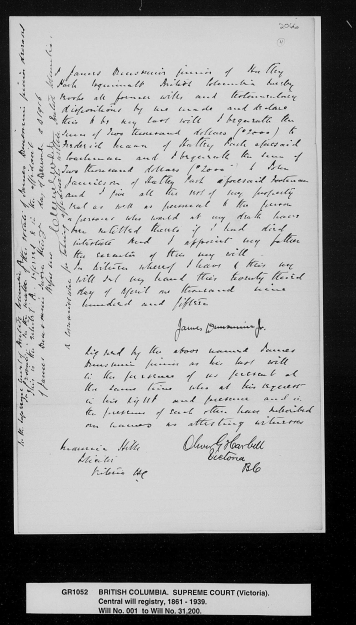 The will written by Boy Dunsmuir in 1915