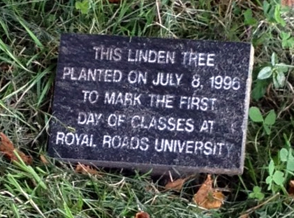 Sign for linden tree planted on the first day of RRU classes