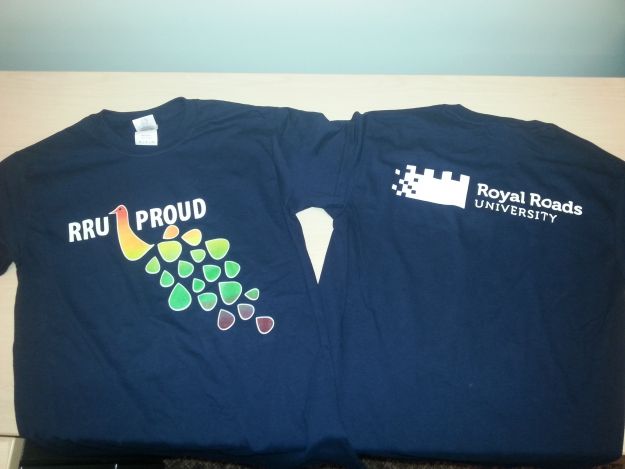 Front and back of the RRU Proud T-shirt